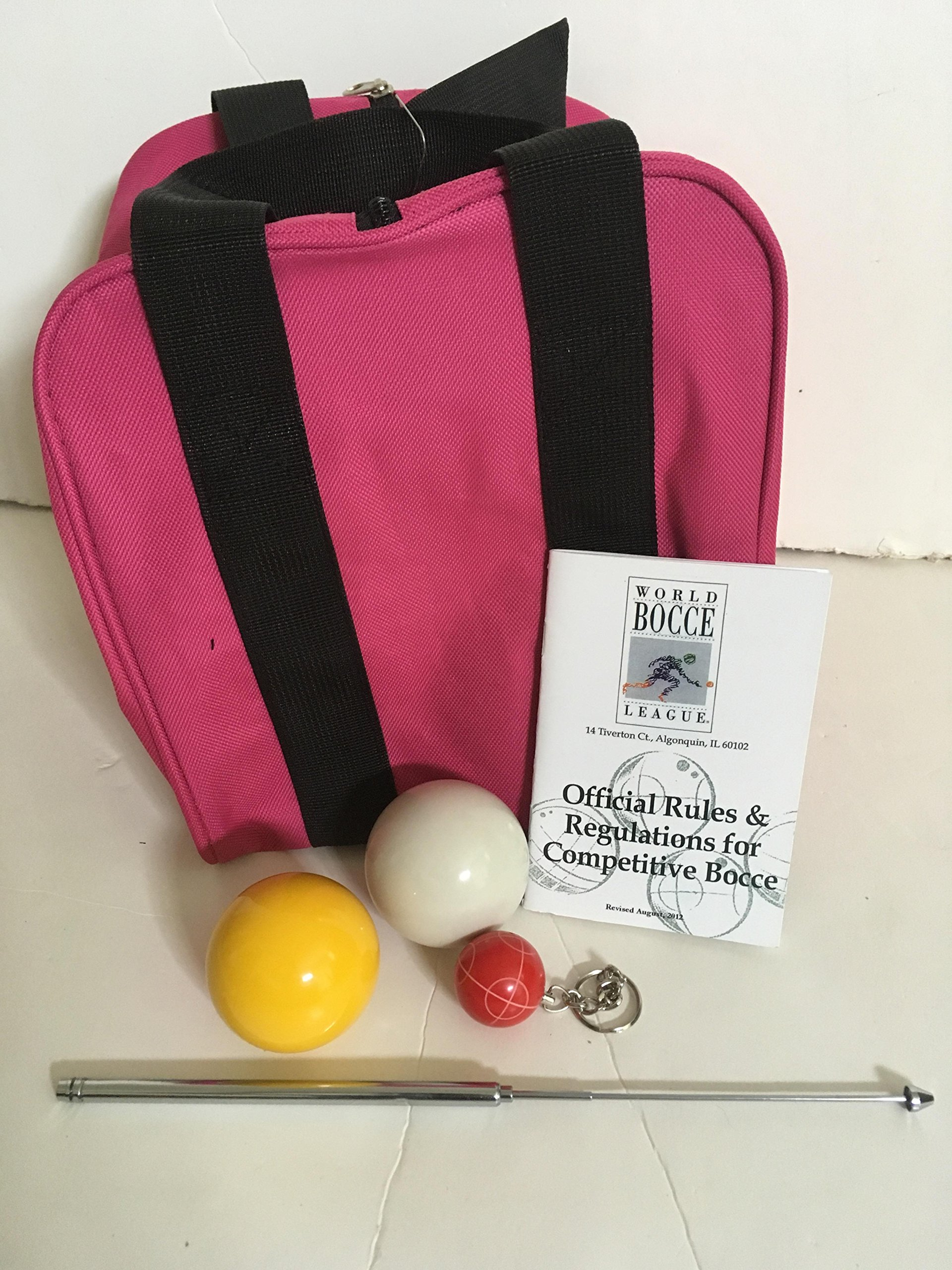Unique Bocce Ball Accessories Package - Extra Heavy Duty Nylon Bocce Bag (Pink with Black Handles), yellow and white pallinas, Extendable Measuring Device, Rule Book and Keychain by BuyBocceBalls