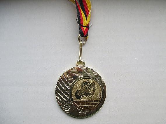Band Farbe: Gold Emblem 25mm Medaillen 30 x Medaillen aus Metall 50mm inkl Reiten mit Einem Emblem Pferd Pferde Dressur