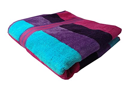 Space Fly Cabana Stripe Soft Cotton 1 Big Size Bath Towel ,30X60 Inches Multi-coloured