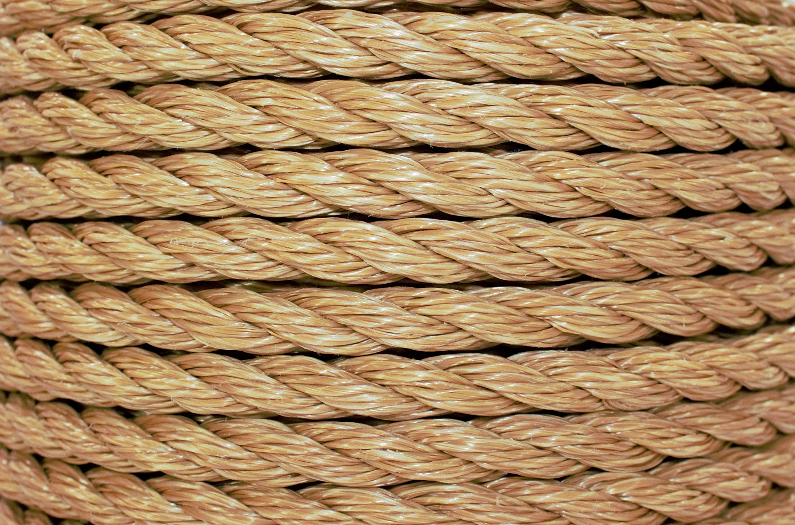 SGT KNOTS ProManila Rope (1/2 inch) UnManila Tan Twisted 3 Strand Polypropylene Cord - Moisture, UV, and Chemical Resistant - Marine, DIY Projects, Crafts, Commercial, Indoor/Outdoor (200 ft) by SGT KNOTS