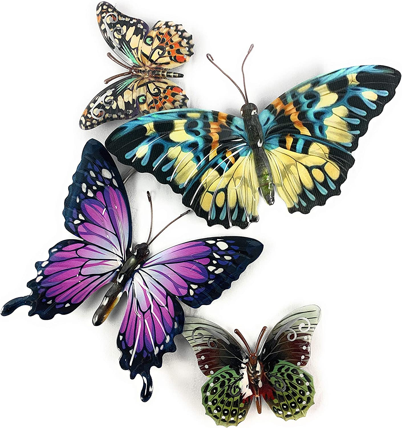 Metal Butterfly Wall Decor 3D Art Sculpture Hangings for Outdoor Back Yard, Garden Fence Patio, or Indoor, Living Room Bedroom Bathroom Hallway, 21.5X20 inches