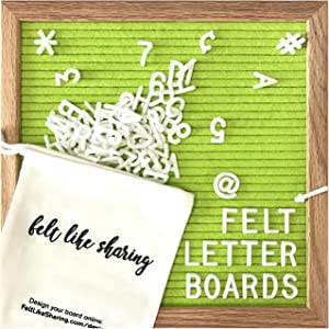 Felt Letter Board, 10x10in Changeable Letter Board with Letters White 300 Piece - Felt Message Board, Oak Frame Wooden Letter Board for Baby Announcements, Milestones, Office Decor & More (Lime Green)