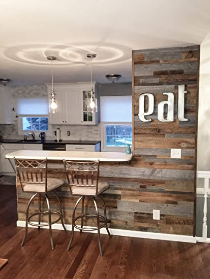 East Coast Rustic Reclaimed Barn Wood Wall Panels Easy Install Rustic Wood Diy Wall Covering For Feature Walls 20 Sq Ft Mixed Width Grey And