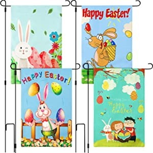Tatuo 4 Pieces Happy Easter Garden Flag Burlap Flags Spring Summer Bunny Rabbit Eggs Double Sided Green Garden Outdoor Lawn Yard Vertical Flag for Holiday Party Home Yard Decoration, 12.6 x 18.5 Inch
