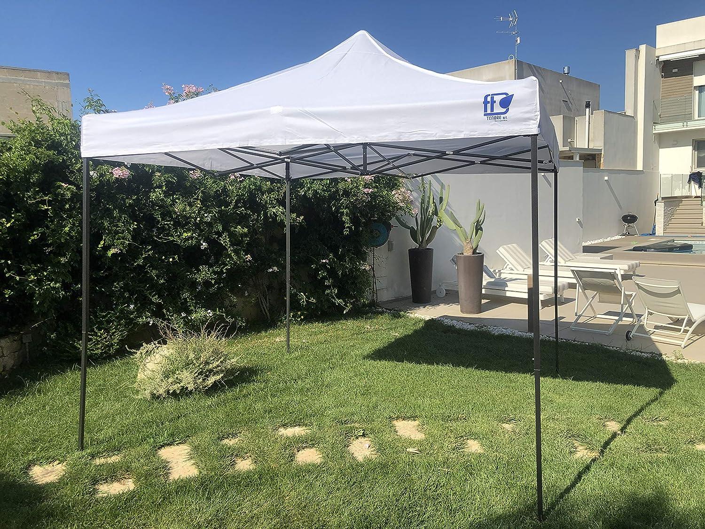 FT TENORE - Cenador Plegable de 3 x 3 m, Plegable en acordeón, para Mercado, con Bolsa (Blanco): Amazon.es: Jardín