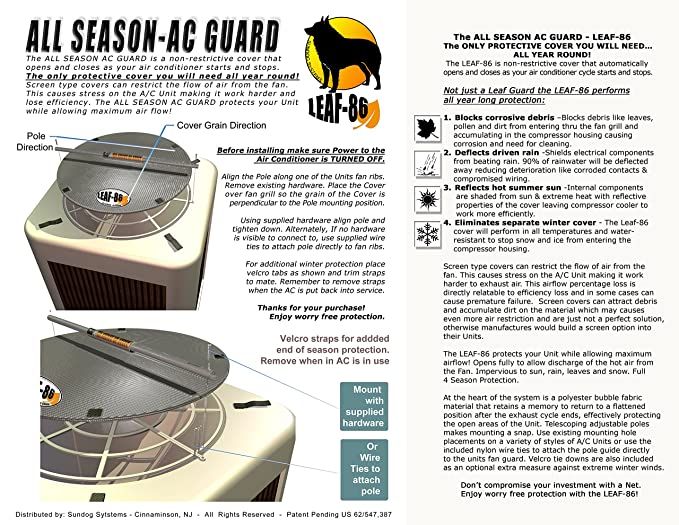AC GUARD ALL SEASON LEAF-86 / AIR CONDITIONER COVER for outside