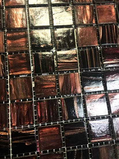 34 X 34 Copper Bronze Fleck Glimmer Glass Mosaic Tile Backsplash