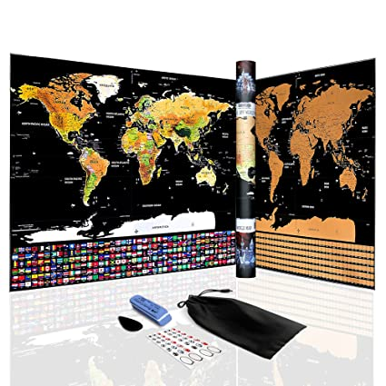 Amazon scratch off world map poster travel tracker map with scratch off world map poster travel tracker map with country flags amazing travels gumiabroncs Image collections