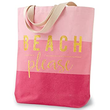 Amazon.com: Mud Pie 8613308P Canvas Beach Tote Bag Beach Please