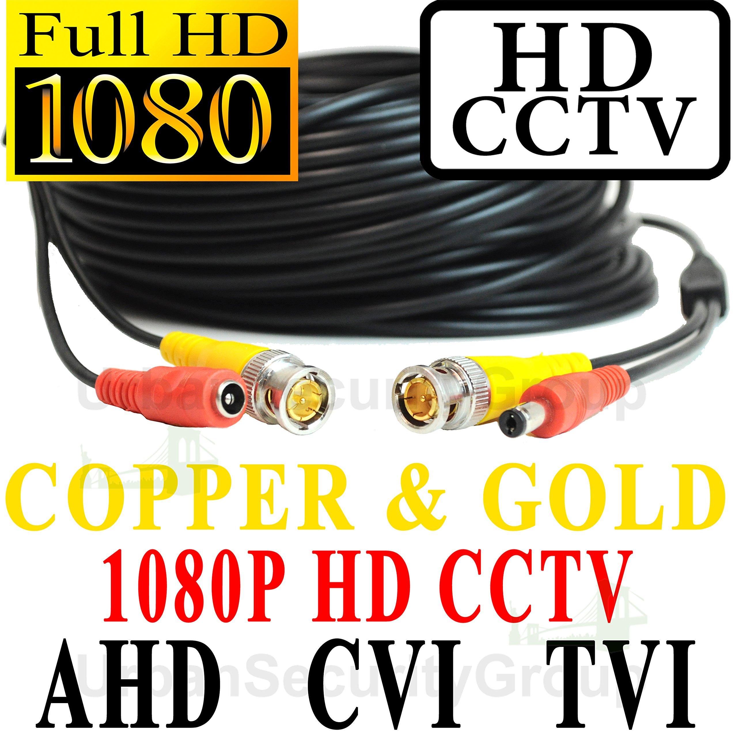 USG 50ft Premium Grade CCTV Cable for 1080P 2MP 3600TVL High Definition Analog, AHD, CVI + TVI Equipment Gold & Copper BNC Connectors Siamese 24AWG Power & 26AWG Video NOT FOR SDI