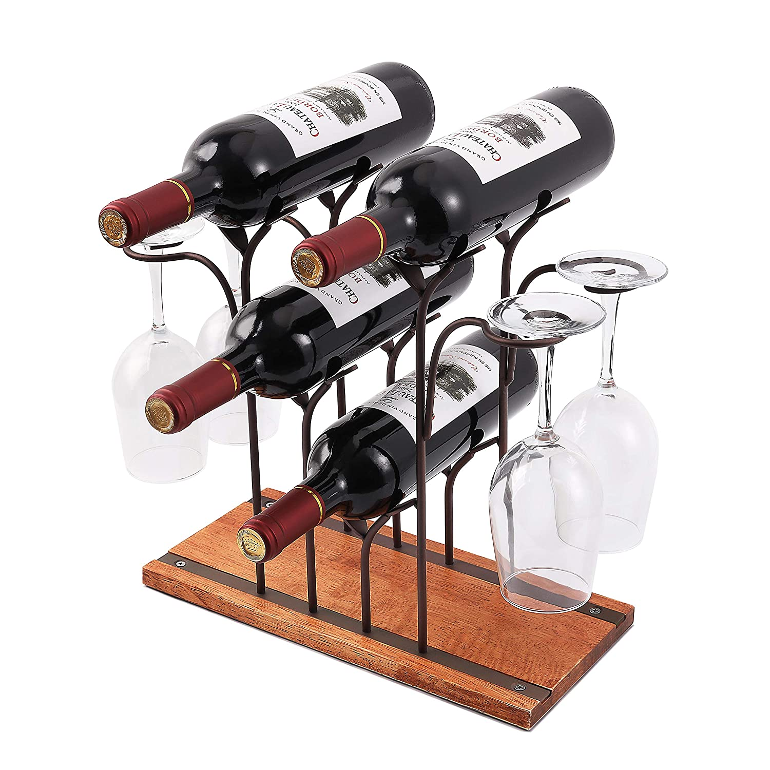 Countertop Wine Rack, Tabletop Wood Wine Holder, Perfect For Home Decor & Kitchen Storage Rack, Bar, Wine Cellar, Cabinet, Pantry, etc ,Hold 4 Wine Bottles and 4 Wine Glasses, Wood & Metal (Bronze)
