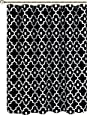 "Biscaynebay Printed Fabric Shower Curtain, Morocco Pearl Bathroom Curtain (72""X72"", Morocco Black)"