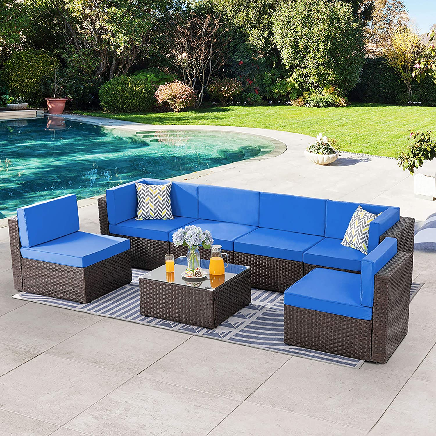 SUNLEI 7pcs Patio Outdoor Furniture Sets Conversation Set,Low Back All-Weather Rattan Sectional Sofa with Tea Table&Washable Couch Cushions&Ottoman(Brown Rattan)(Royal Blue)
