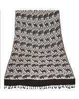 Sanskriti Pashmina Woven 100% Silk Modal Shawl Black Scarf Stole Camel Elephant