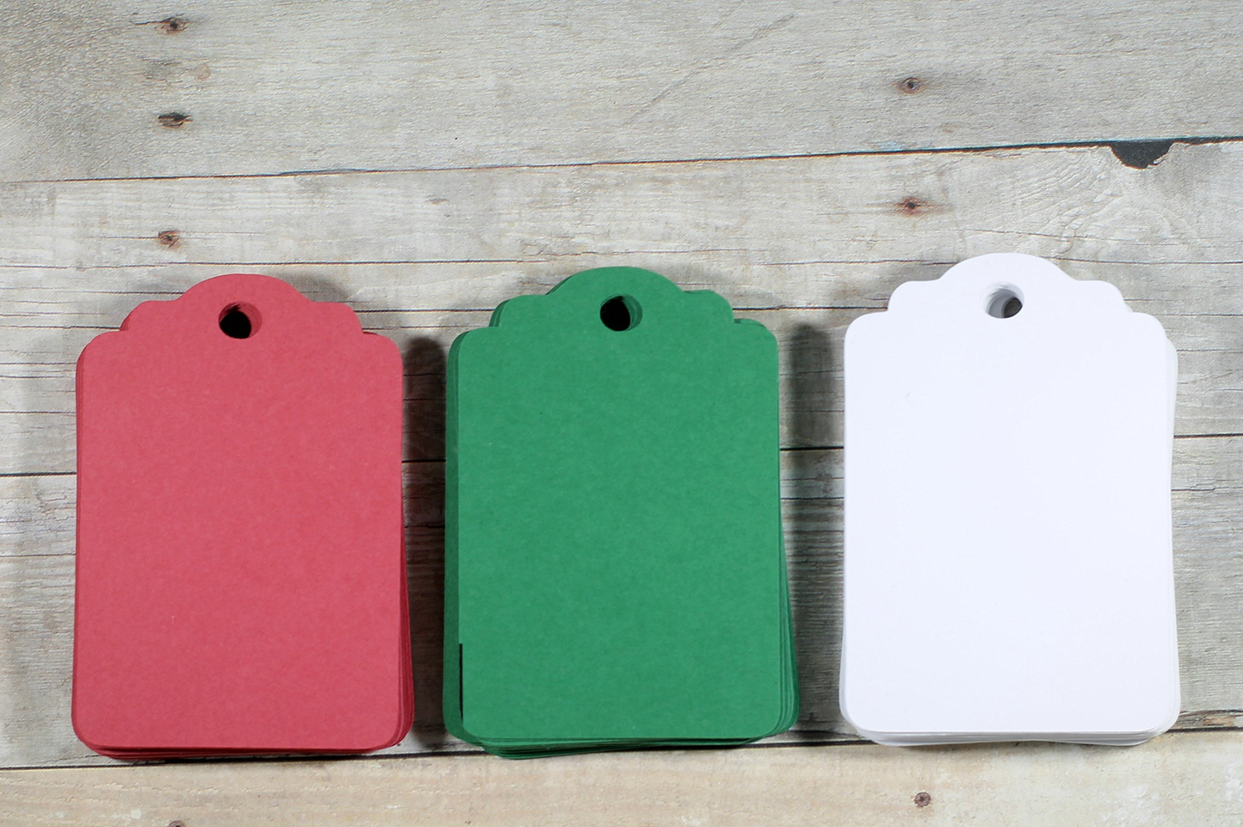 Christmas Gift Tags - Bank Red White and Green Holiday Favor Tags (Set of 60) by The Paper Medley