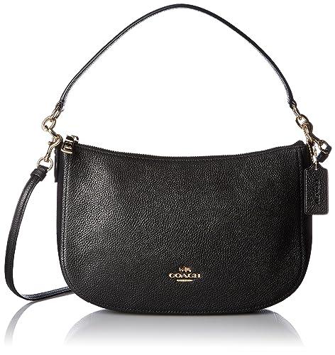 nouveau style et luxe pas mal où puis je acheter Coach Chelsea Polished Pebbled Black Leather Cross-Body Bag
