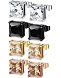 FIBO STEEL 4 Pairs Stainless Steel Square Stud Earrings for Men Women Ear Piercing Earrings Cubic Zirconia Inlaid,3-8mm Available