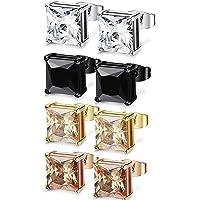 FIBO STEEL 4 Pairs Stainless Steel Square Stud Earrings for Men Women Ear Piercing Earrings Cubic Zirconia Inlaid,3-8mm…