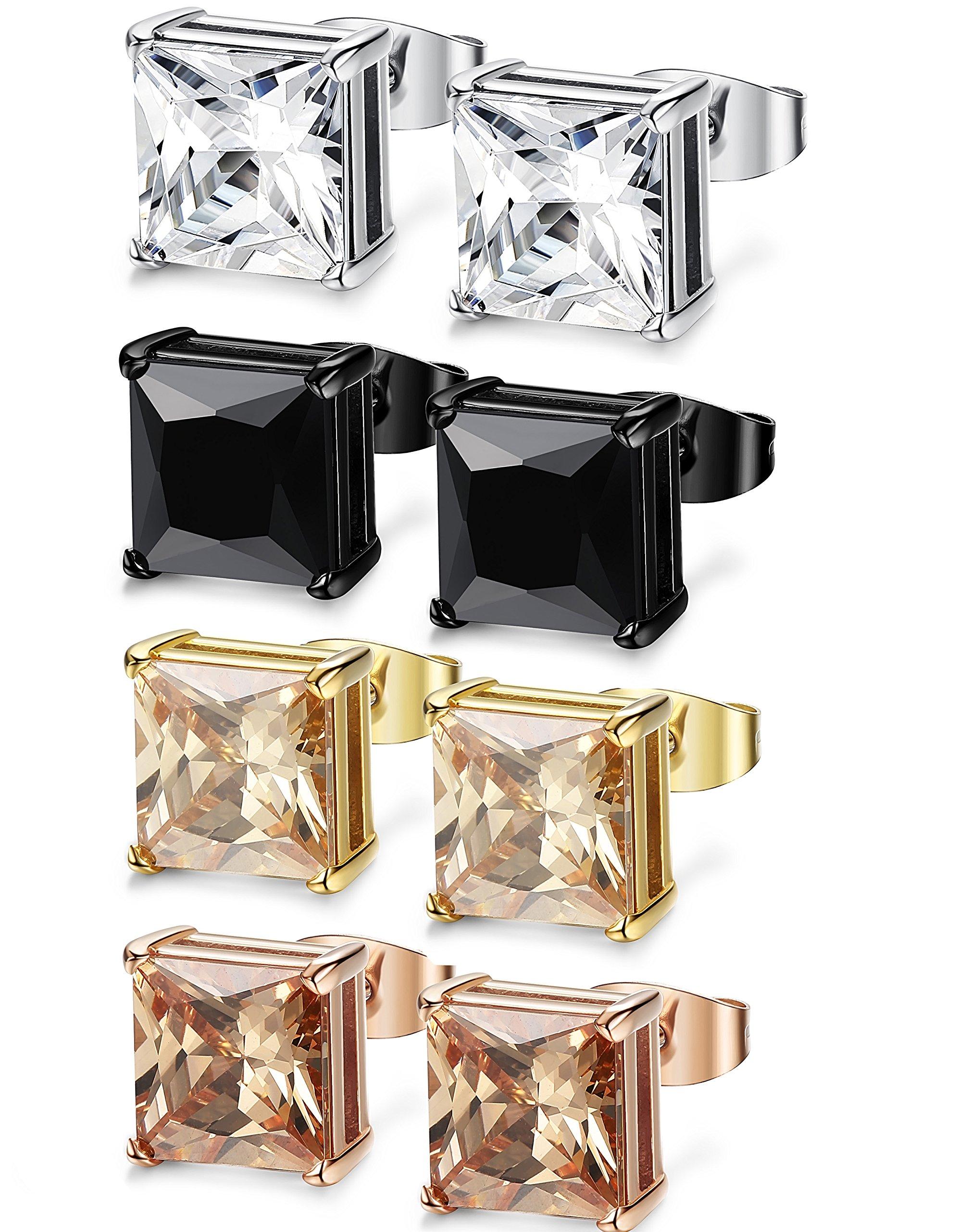 FIBO STEEL 4 Pairs Stainless Steel Square Stud Earrings for Men Women Ear Piercing Earrings Cubic Zirconia Inlaid,8 mm