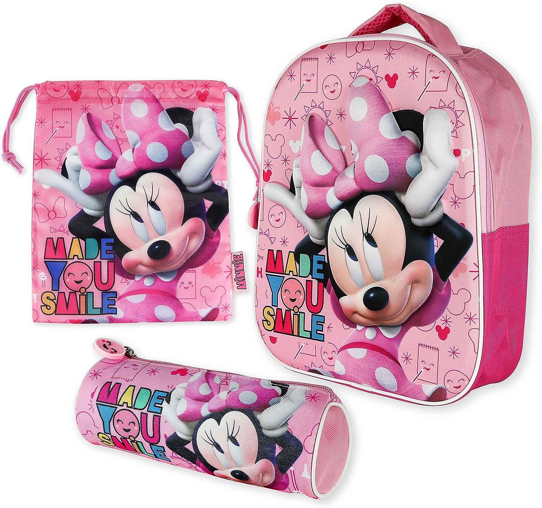Mochila Infantil 3D, Estuche Escolar y Bolsa Merienda de Cuerdas Pack Diseño Colorido – Minnie Mouse | Mochila Escolar Niña de 3 Años | Material Escolar Vuelta al Cole con Minnie Mouse: Amazon.es: Equipaje