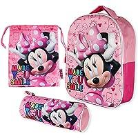 Mochila Infantil 3D, Estuche Escolar y Bolsa Merienda de Cuerdas Pack Diseño Colorido – Minnie Mouse | Mochila Escolar…