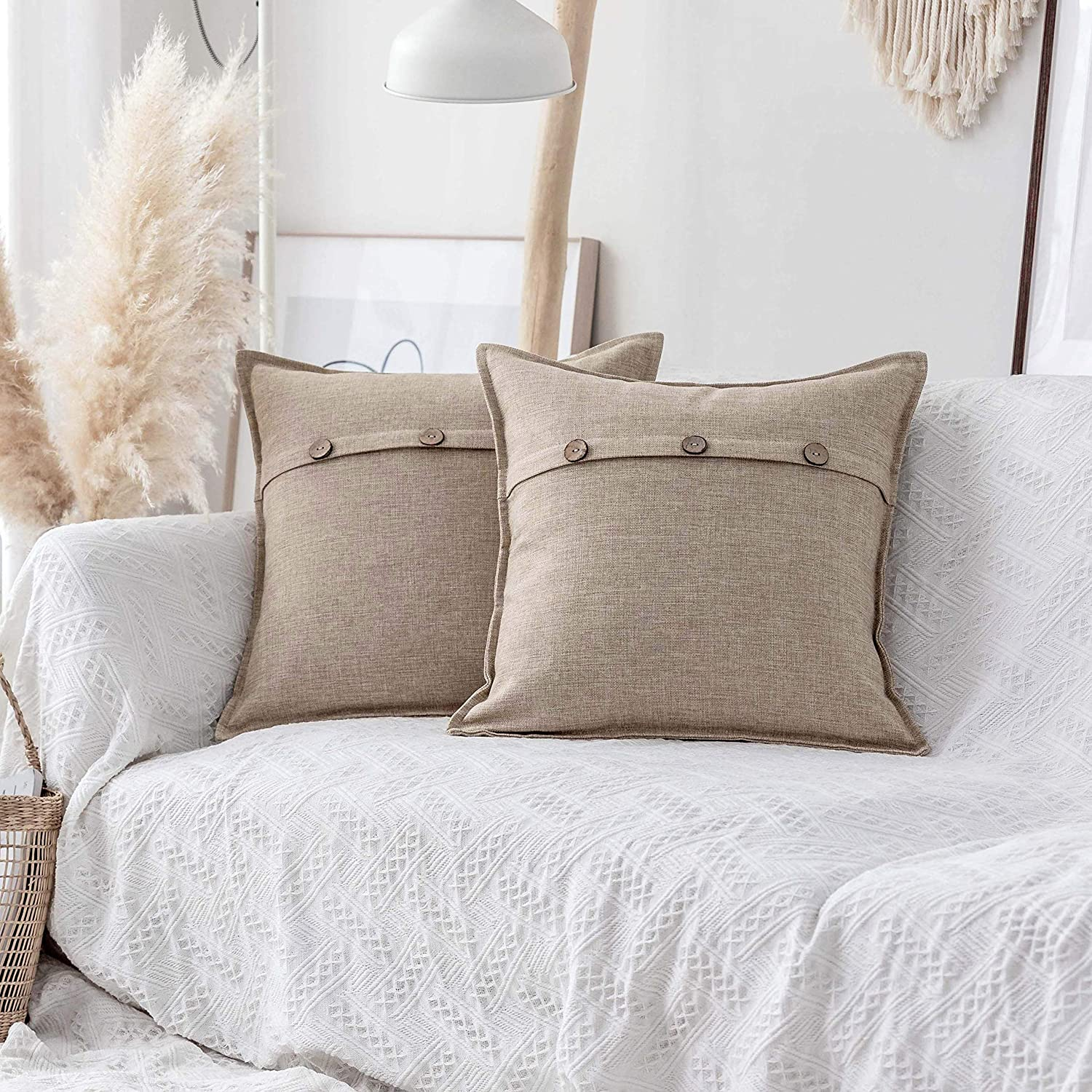 Home Brilliant Decorative Pillow Covers 2 Pcs Textured Burlap Button Pillowcases Decoration Farmhouse Holiday Decor Lined Linen Cushion Covers for Couch Living Room, 18x18 inches, Light Linen