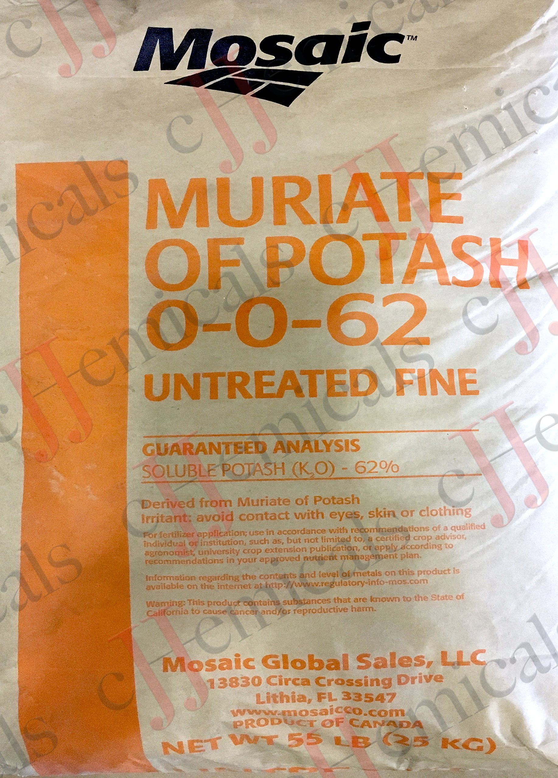 Potassium Chloride UNTREATED (0-0-62) Minimum 99.5% purity! 55LB BAG!