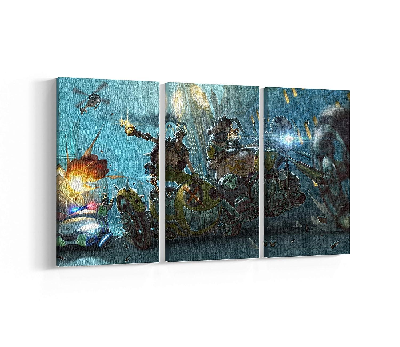 Overwatch Roadhog Junkrat Canvas, Poster, Print, Wall Art N.002 (3-Panel 42