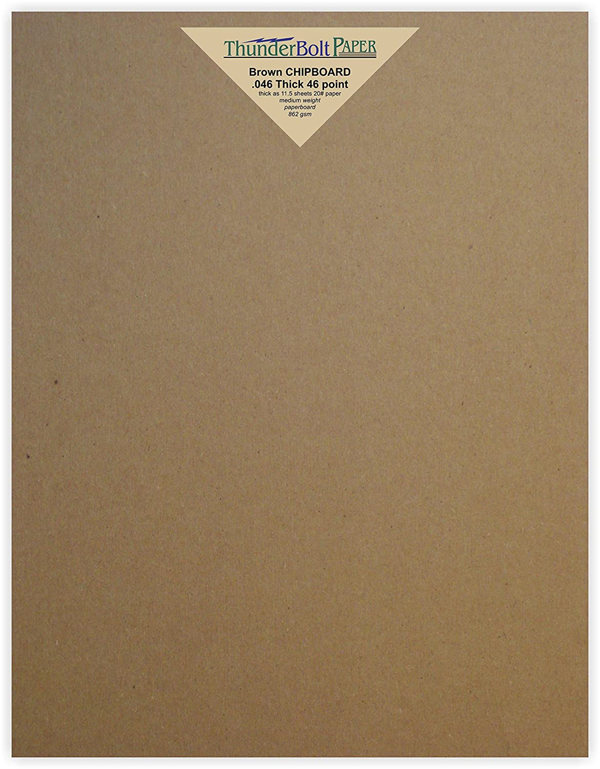 50 Sheets Chipboard 46pt (point) 8.5 X 11 Inches Heavy Weight Letter Size .046 Caliper Thick Cardboard Craft|Packaging Brown Kraft Paper Board TBP 4336978340