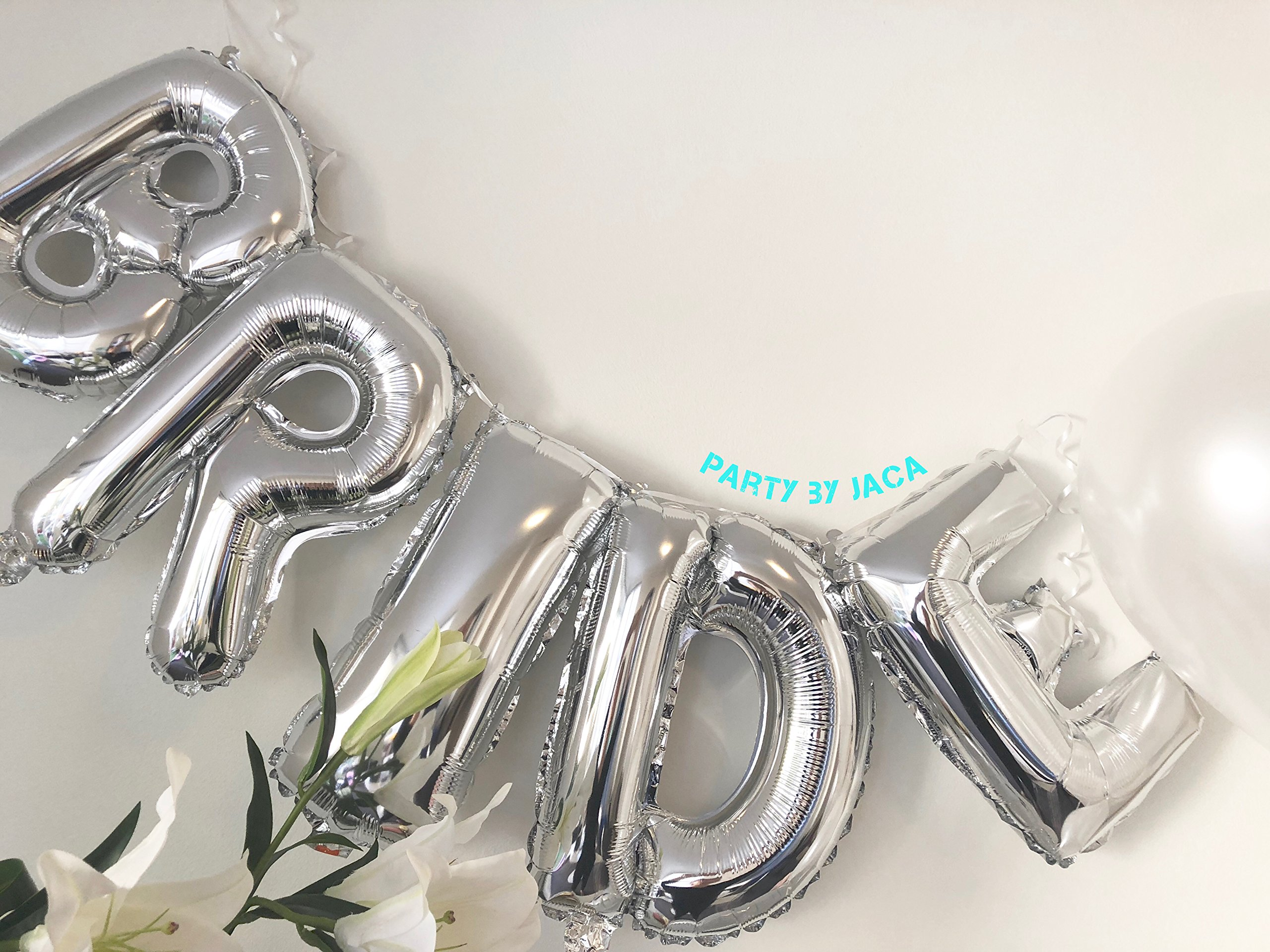 Silver & White Classy Hens Bachelorette KIT - 15 Piece Set: 8 Latex Balloons - 1 3D FOIL Banner Bride - 1 Satin Trimmed Veil - 1 Shiny Ring Balloon by JACA (Image #3)