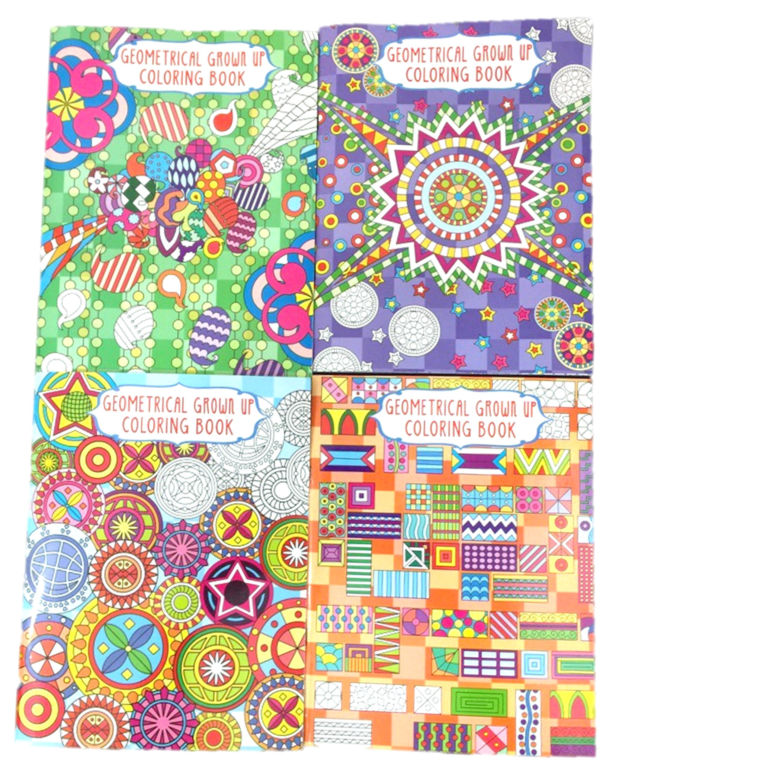 Geometrical Grown Up Coloring Book - Set of 4: 0814625015864 ...