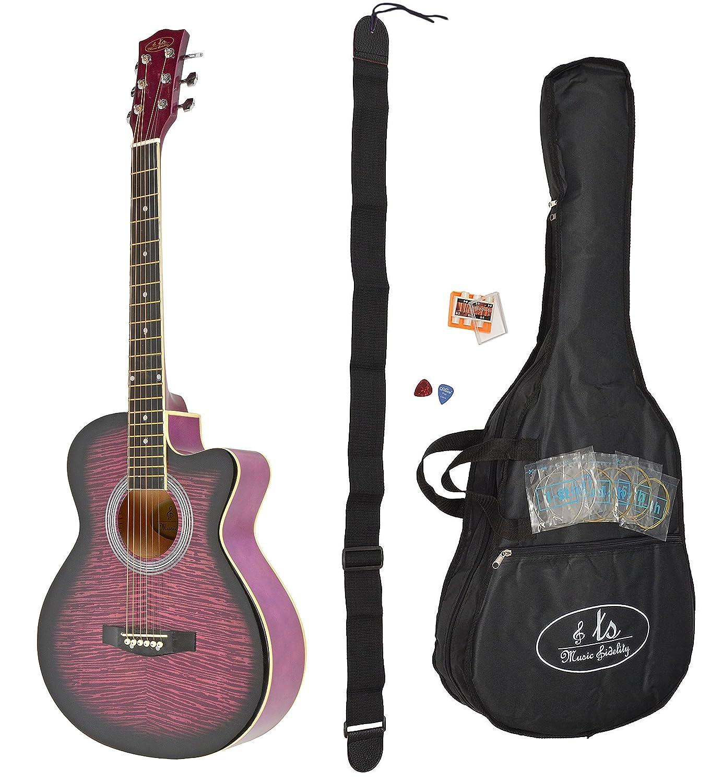 ts-ideen 4416 - Guitarra acústica (4/4, incluye funda y set de accesorios: correa, cuerdas, púas y silbato afinador), color morado: Amazon.es: Instrumentos ...