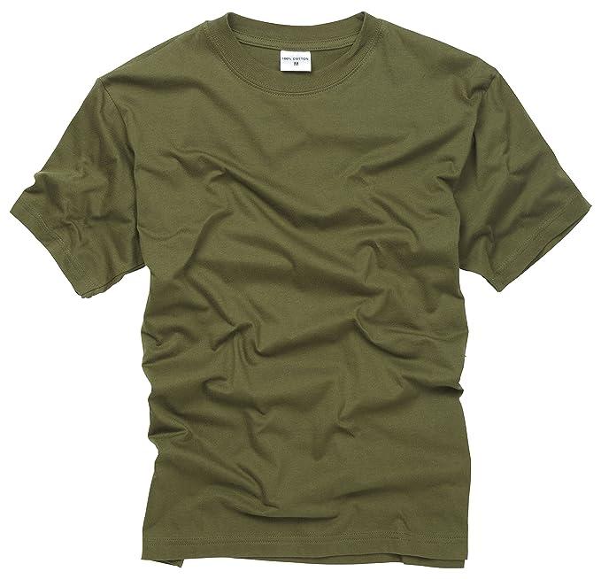 971f7f09926 100% Cotton Basic Military Style T-shirt - Olive  Amazon.co.uk  Clothing