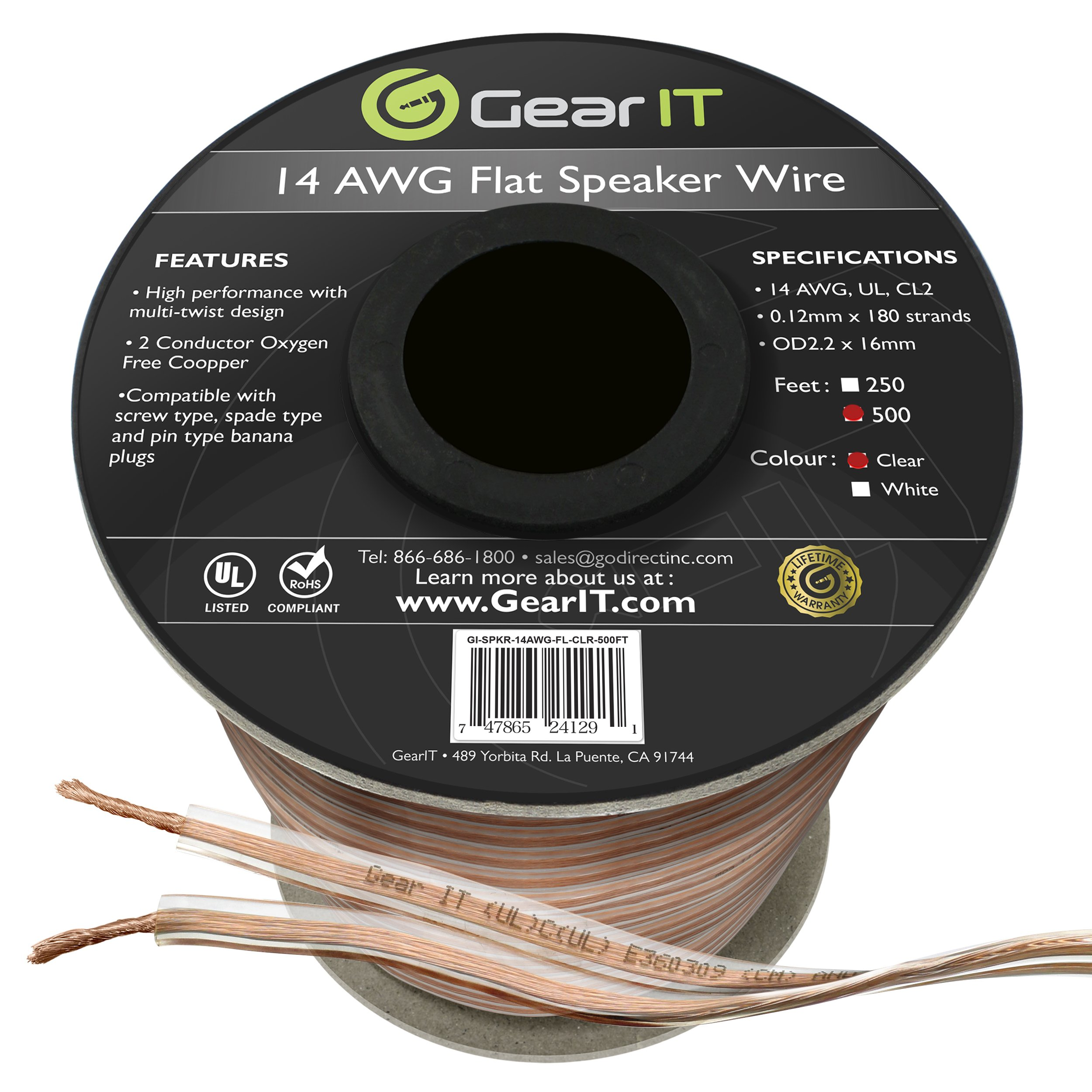 GearIT Elite Series 14AWG Flat Speaker Wire (500 Feet / 152 Meters) - Oxygen Free Copper (OFC) CL2 Rated In-Wall Installation for Home Theater, Car Audio, and Outdoor Use, Clear