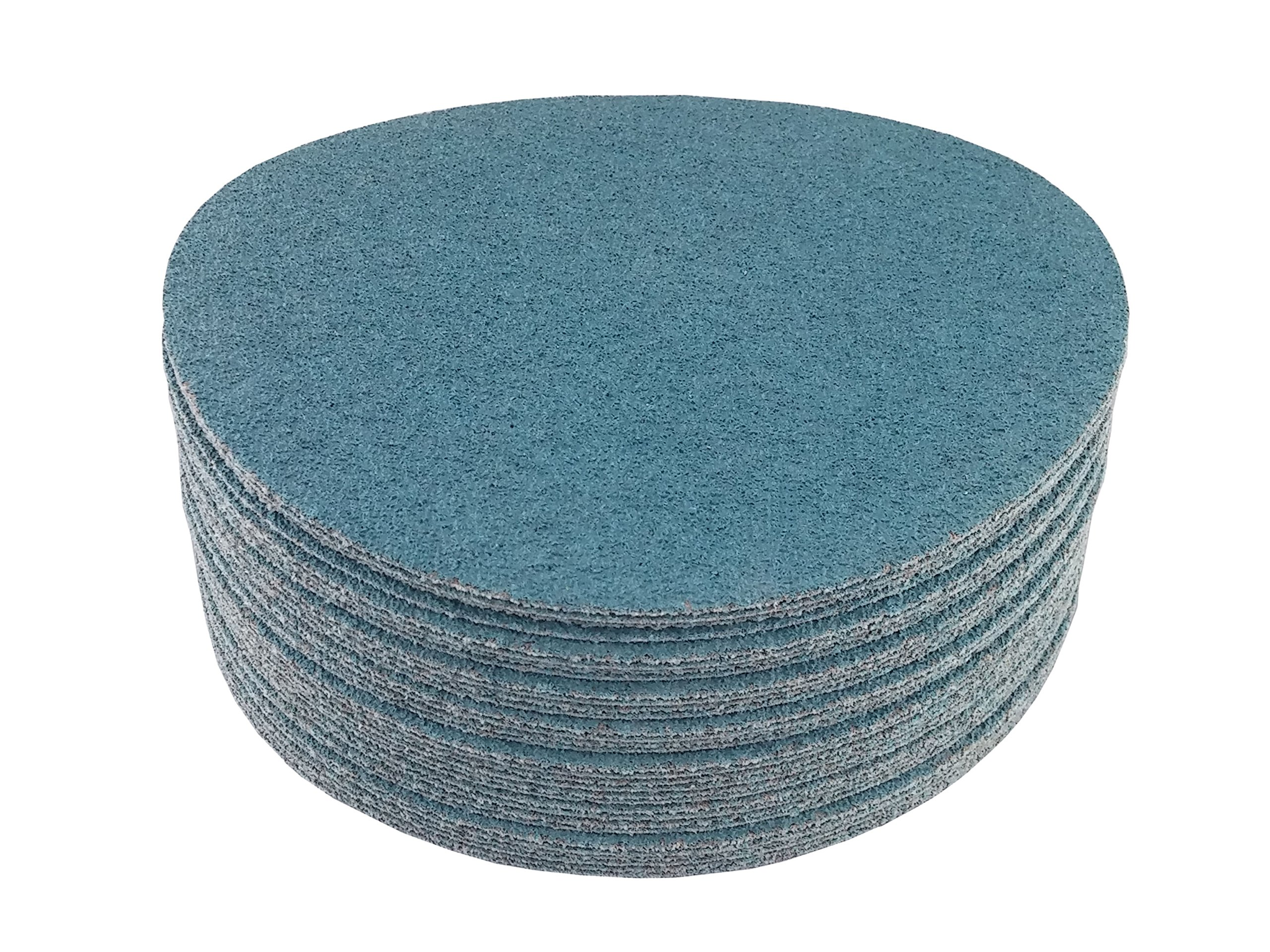 8'' Blue Zirconia Cloth Hook and Loop Sanding Discs (50 Pack, 80 Grit) by Perfect Sanding Supply by Abrasive Resource (Image #3)