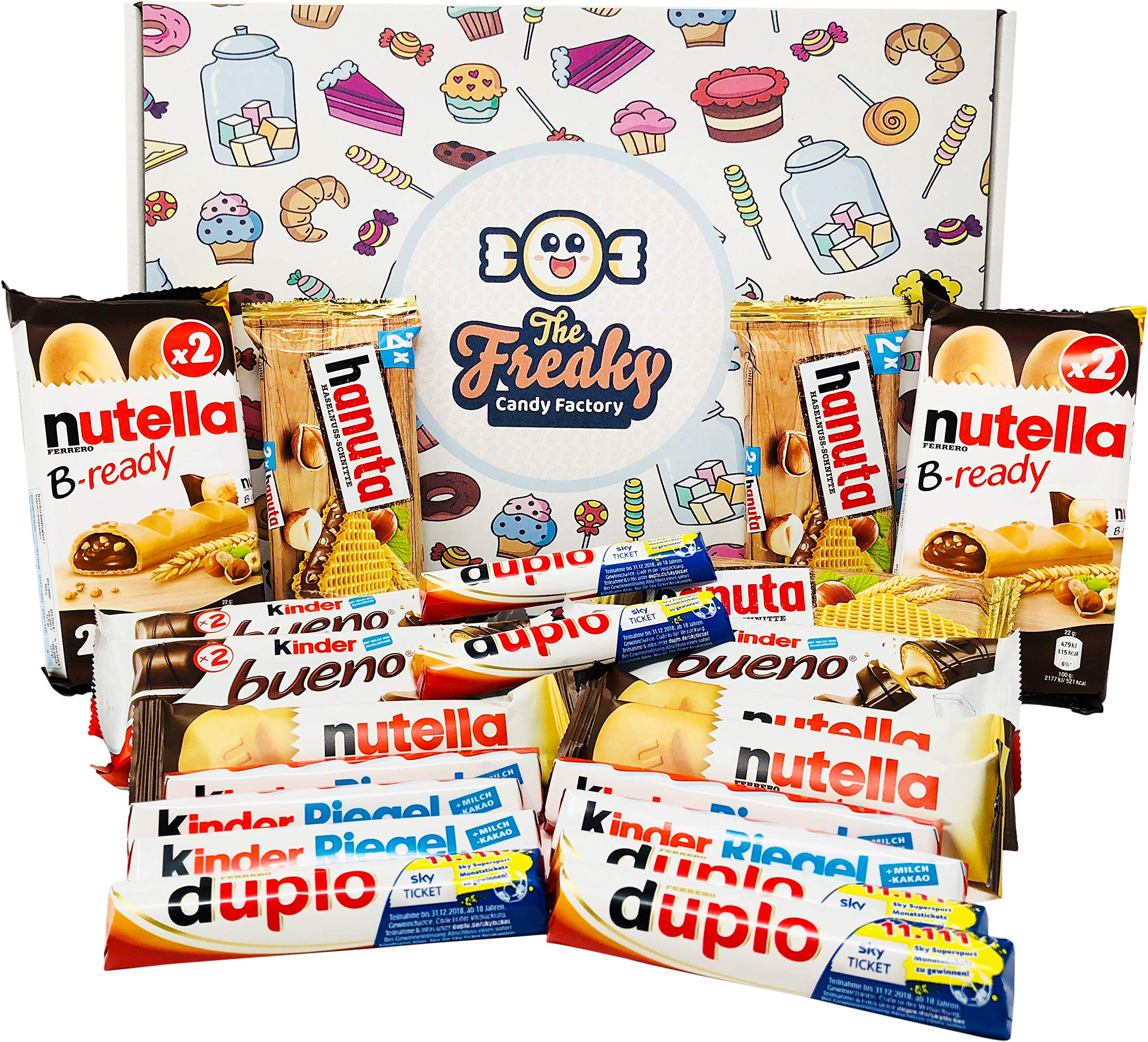 Ferrero Assorted Chocolates Gift Box (21-Pack) Classic German Candy | Bueno, Duplo, nutella b-ready, Kinder Riegel, and Hanuta | Personal Packs or Halloween Shareables by The Freaky Candy Factory