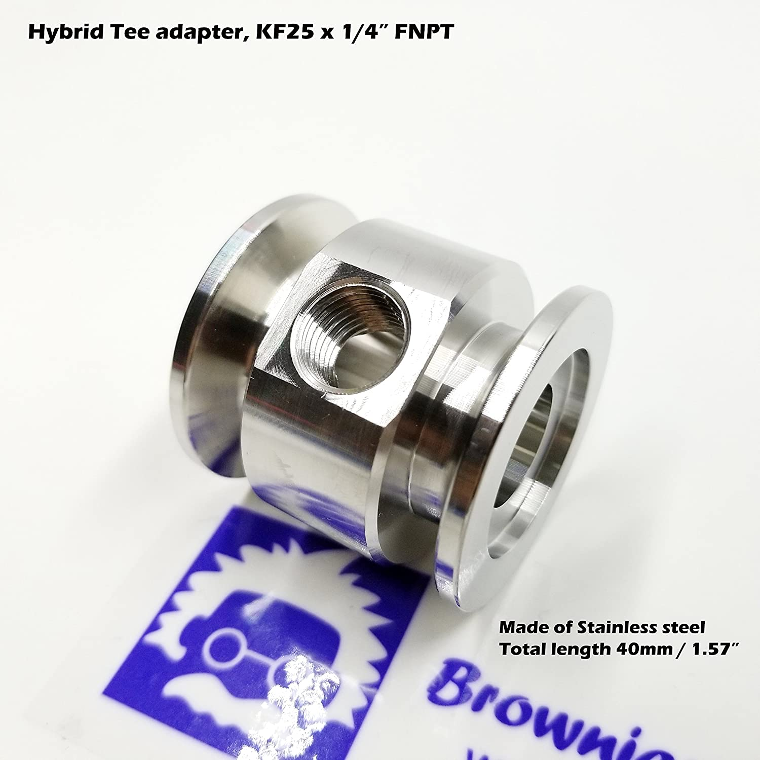 """f5216c49b4e13 Vacuum Adaptive Tee Both Ends KF25 Flange and Middle 1 4"""" FNPT Port ..."""