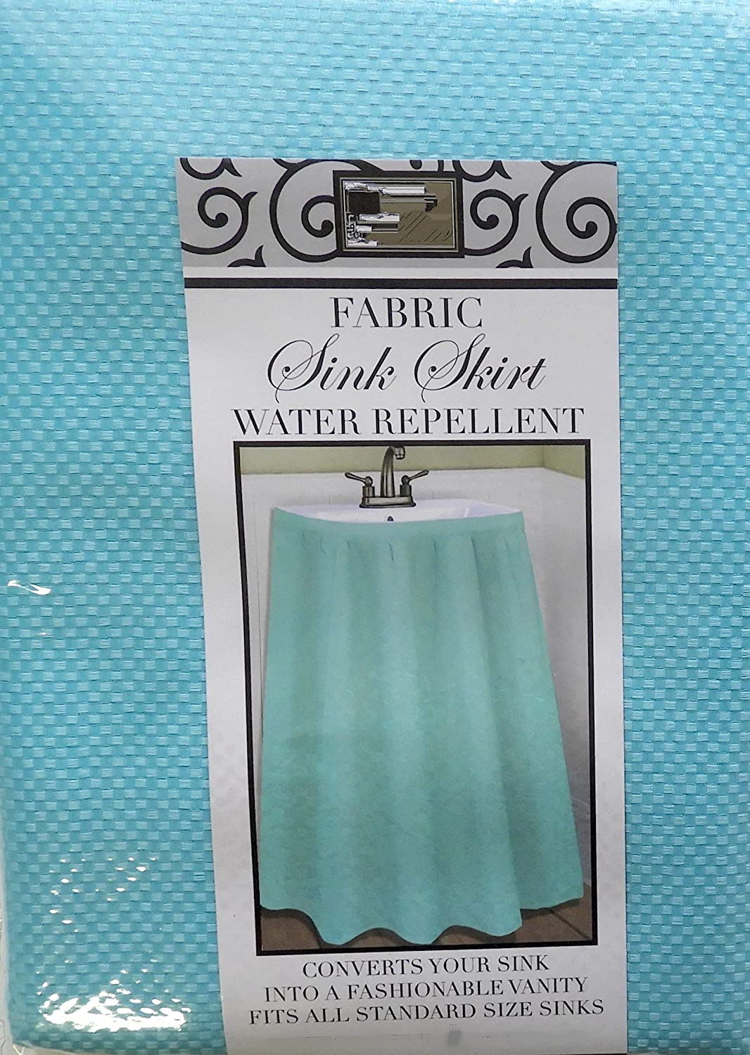 DI Home & Style Fabric Sink Skirt Mosaic Stitch Turquoise