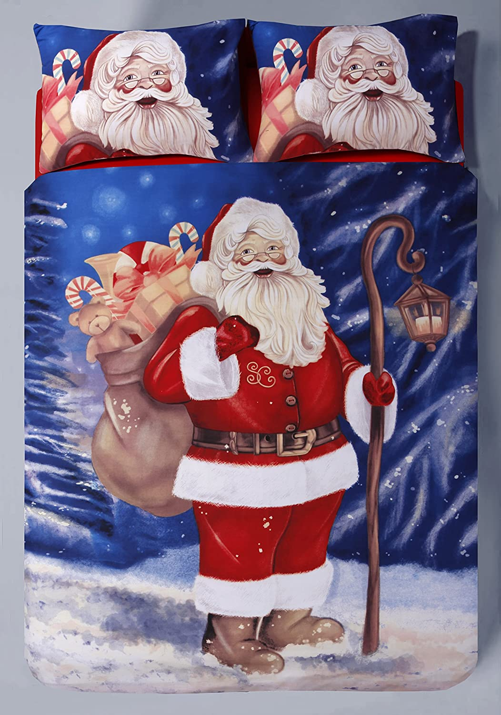 3D Vintage Father Christmas Panel Poly Cotton Duvet Quilt Cover Bedding Set New