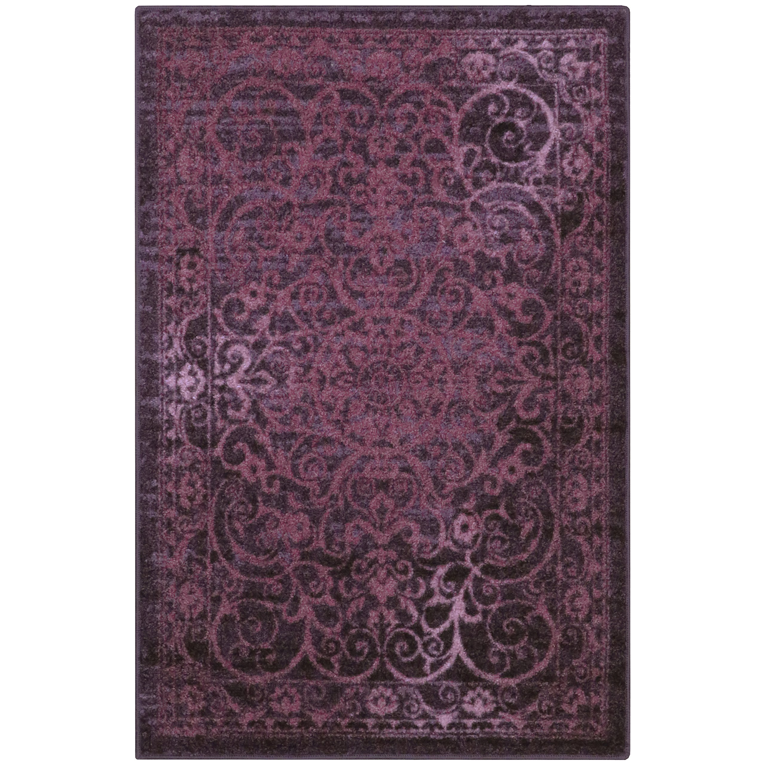 Area Rugs, Maples Rugs [Made in USA][Pelham] 7' x 10' Non Slip Padded Large Rug for Living Room, Bedroom, and Dining Room - Wineberry Red
