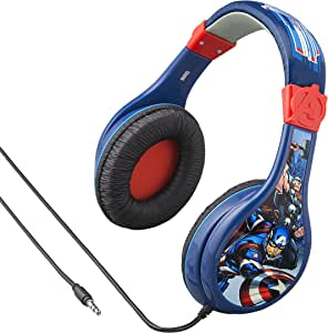 eKids Avengers Assemble Kids Headphones, Adjustable Headband, Stereo Sound, 3.5Mm Jack, Wired Headphones for Kids, Tangle-Free, Volume Control, Childrens Headphones Over Ear for School Home, Travel