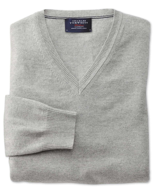 Charles Tyrwhitt Light grey cotton cashmere v-neck jumper