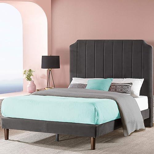 ZINUS Charlotte Upholstered Platform Bed Frame / Mattress Foundation / Wood Slat Support / No Box Spring Needed / Easy Assembly