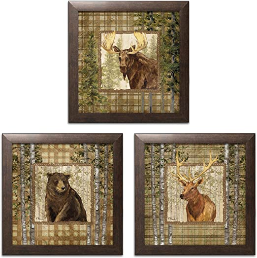 Wall Art Bear Forest Rustic Wildlife Wood Framed Cabin Lodge Decor Home New