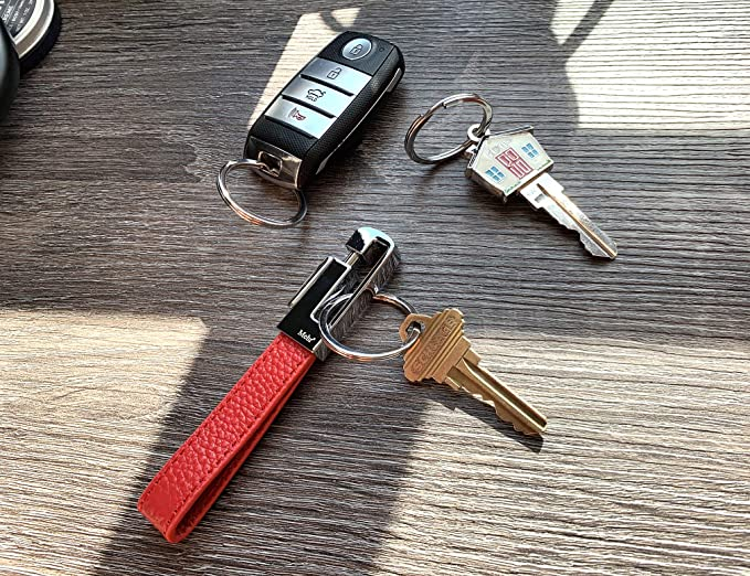 Mehr 3048s Leather Valet Keychain - Detachable Key Chain & Key Rings (Monaco Red)