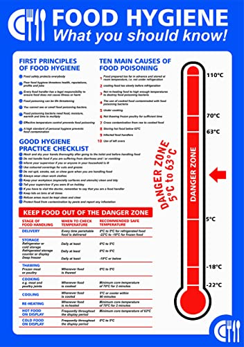 Pack of 2 food hygiene what you should know temperature Posters. 200mm x 300mm Self adhesive Vinyl sticker. (2)