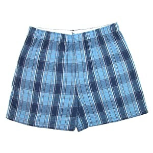 Boxercraft Mens Cotton Flannel Plaid Boxer Sleep Shorts, XL, Columbia Blue