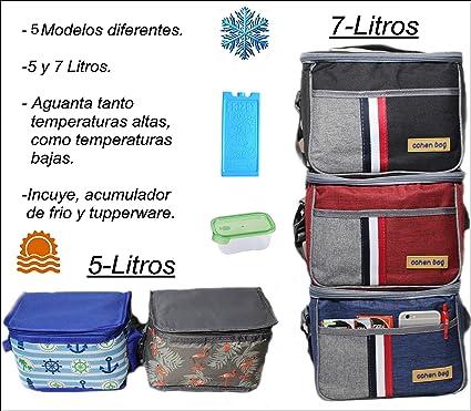 Pack Bolsa hermética ISOTERMICA pequeña + Acumulador de frio + Tupper, dos tamaños 7 o 5 litros:Porta Alimentos Térmica para alimentos bolso plegable ...