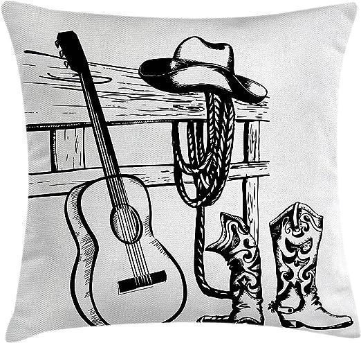 Western Decor - Funda de cojín con diseño de dibujo de guitarra ...