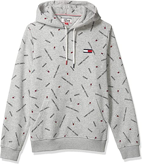 Tommy Hilfiger Men/'s Gray Heather Logo Print Full Zip Hoodie